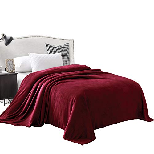 """Exclusivo Mezcla Queen Size Flannel Fleece Velvet Plush Bed Blanket as Bedspread/Coverlet/Bed Cover (90"""" x 90"""", Burgundy) - Soft, Lightweight, Warm and Cozy"""