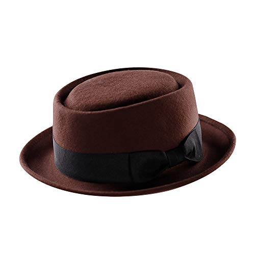 (Pork Pie Hat-100% Wool Felt Men's Porkpie Hats Flat Mens Fedora Top Classic Bowknot Cap (L:7 3/8-23 1/4