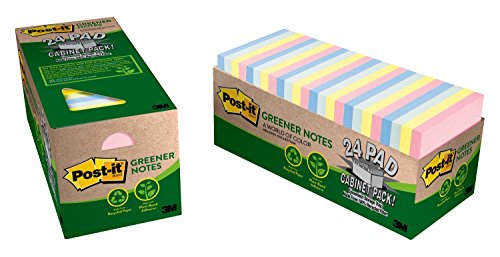 Post-it Greener Notes, 3 in x 3 in, Helsinki Collection, 24 Pads/Cabinet Pack (654R-24CP-AP) by Post-it