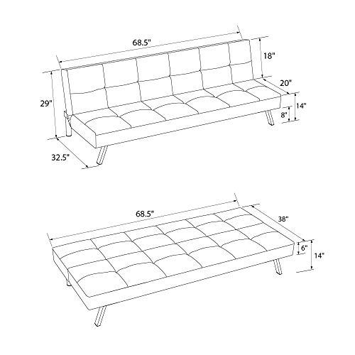 DHP Zorro Upholstered Futon Converts into Full Size Sleeper, Microfiber Grey