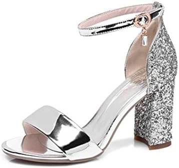WEIQI-Sandales Femme/Strass Pailleté/Strap Buckle/High Heel/Brillant, Travail/Shopping/Réunion, 8cm, 32-41, Silver, 35