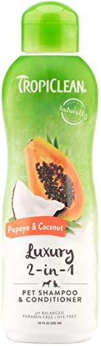 TropiClean Papaya and Coconut Pet Shampoo and Conditioner, Luxury 2-in-1 Shampoo and Conditioner for Dogs and