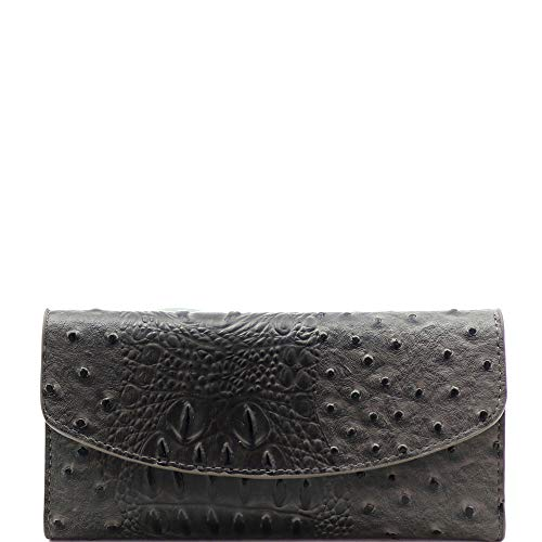 Print Leather Checkbook Wallet - Ostrich Print Embossed Soft PU Leather 15-Card-Slot Slim Trifold Wallet with Checkbook Holder (Charcoal)