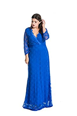 Myfeel Women Plus Size Maxi length Sleeves Lace Dress Event Gowns