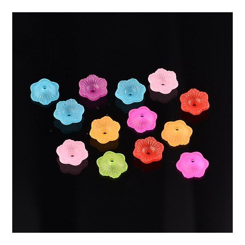 (Packet 150+ Mixed Lucite 4 x 11mm Flower Beads HA25675 (Charming Beads))