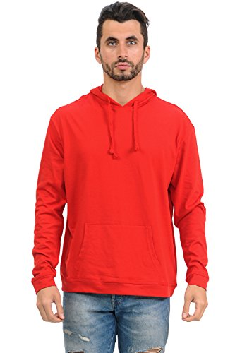 Dream USA Men's Long Sleeve Lightweight Pullover Hoodie with Pocket (X-Large, Red)