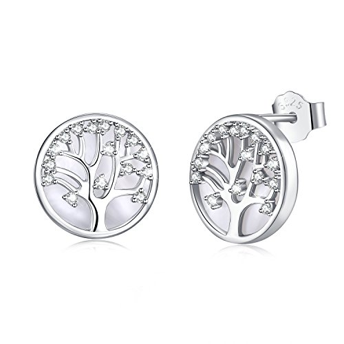 MEGACHIC Tree of Life Women's Sterling Silver Mother of Pearl Pendant Earrings Crystals from Swarovski (Silver Earrings)