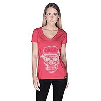 Creo White Pink Coco Skull T-Shirt For Women - Xl, Pink