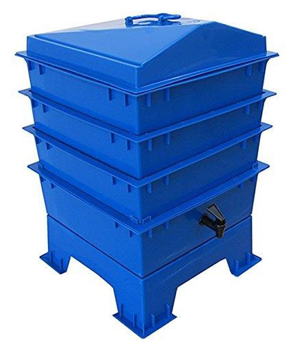 Der Tiger Rainbow Wurmkomposter 4 Tablett Kobalt Blau Original Organics