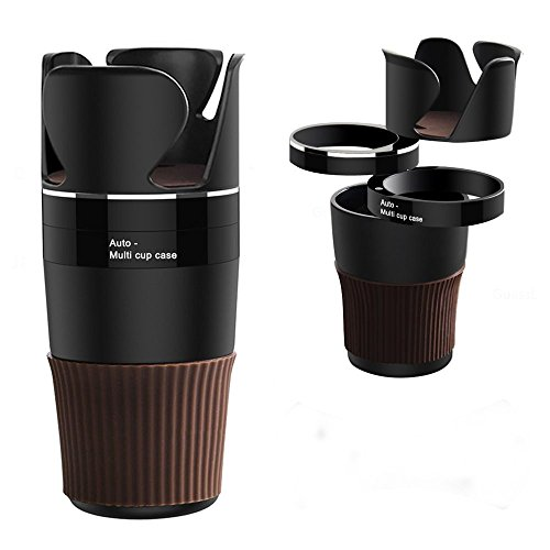 JAUTO Car Cup Holder Storage Organizer 5 in 1 Multifunction Cup Holder Adjustable Drink Cell Phone Holder