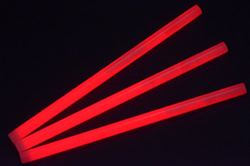 "Glow Sticks Bulk Wholesale, 10 12"" 15mm Dia. Red Industrial Grade Jumbo Light Sticks, Bright Color, Glow 14 Hrs, Safety Glow Stick 3yrs Shelf Life, Ideal Camping & Emergency, GlowWithUs Brand"