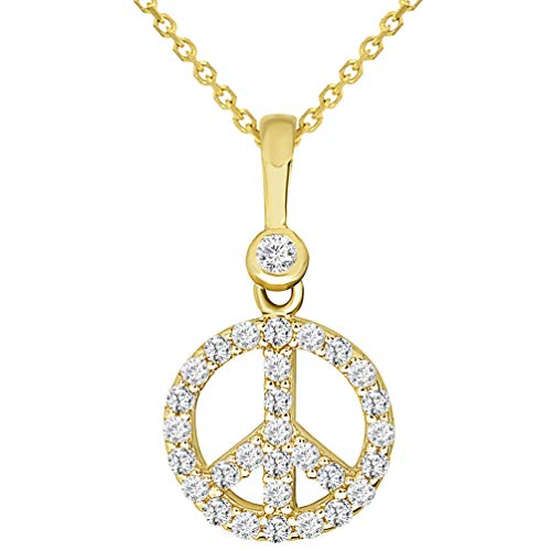 Solid 14k Yellow Gold Mini Peace Symbol Charm Pendant Necklace with Cubic Zirconia, - Necklace Gold Peace Charm