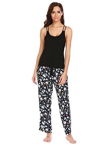 Hindom Womens Slim Fitted Soft Sleeveless O Neck Capri Pajama Set With Long Loose Pants (Sleeveless Capri Pajamas)