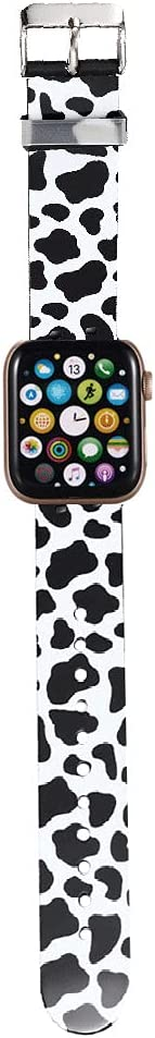BONICI Smart Watch Band Compatible with Apple Watch 38mm 40mm, Men Women Cute Black White Cow Sport Soft Silicone Rubber Replacement Bands for Apple Watch Series 6/SE/5/4/3/2/1 iWatch