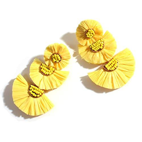 Statement Rattan Raffia Drop Hoop Earrings for Women Geometric Handmade Colorful Rainbow Earring Gift for Mother Sister Summer Wear (Raffia Yellow)