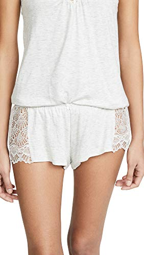 Only Hearts Women's Hipster Sleep Shorts with Lace Insets, Heather, Grey, Off White, Small