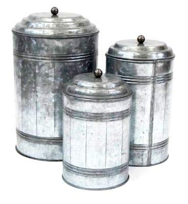 Overseas Metal - Farmhouse Style Kitchen / Bathroom Storage Tin Canisters Handcrafted of Galvanized Metal