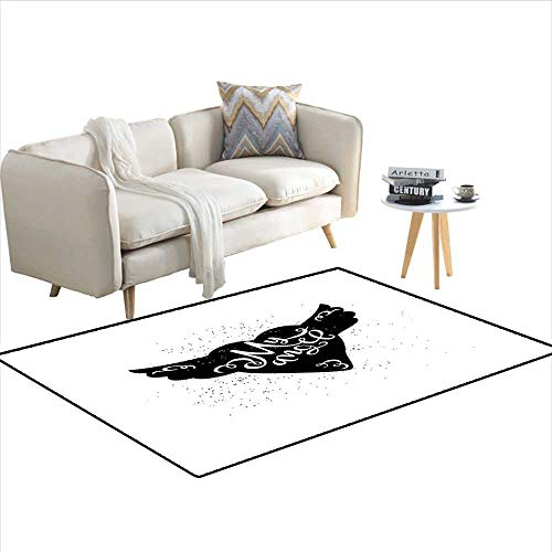 Floor Mat,Cartoon Heart with Wings My Angel Stylized