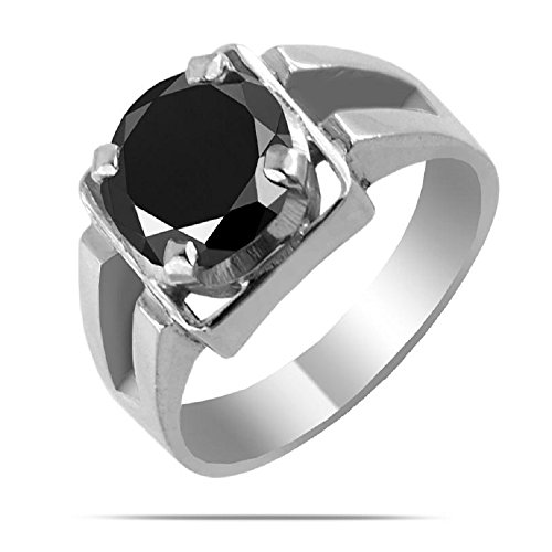 1.45 Cts Round Brilliant Cut Black Diamond Designer Ring in 925 Sterling Silver by Barishh