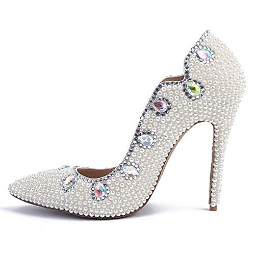 Pointed For Colored Shoes Stiletto High Women Wedding Party Toe Elegant Heeled Evening Prom Pumps Diamond Ladies Shoes Pearl Bride White 8qn665ax