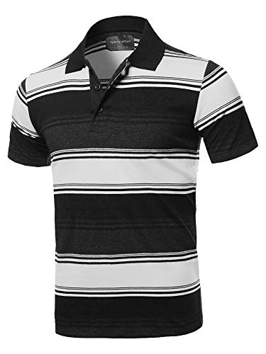 Orange White Striped Shirt - Style by William Casual Regular fit Cotton Basic Striped Short Sleeve Polo T-Shirt White 2XL