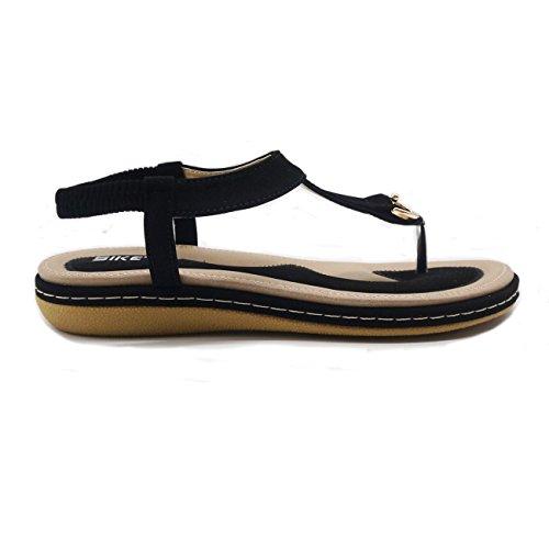 Toe Beach Algamarina Sandali Nere Scarpe Women's T Elastico strap Clip Boho ttaFR