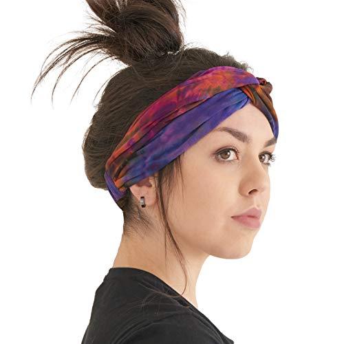 - Womens Boho Tie Dye Headband - Fashion Turban Headwrap Hippy Yoga Hairband Twist Knot Festival Hair Band B