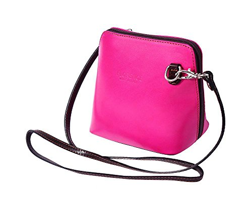 sh Collection Genuine Leather Shoulder Crossbody Bag Made in Italy (Pink-Dark Brown) (Pink Calfskin Leather)