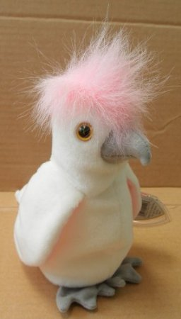 TY Beanie Babies KuKu Cockatoo Bird Stuffed Animal Plush Toy - 6 inches tall - White and Pink