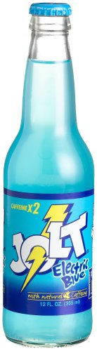 """Jolt ELECTRIC BLUE GLASS LONGNECKS -""""Powerfully Blue Is Good For You"""", 12-Ounce Glass Bottle (Pack of 12)"""
