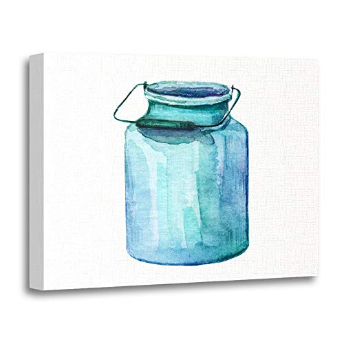 Emvency Painting Canvas Print Artwork Decorative Print Watercolor Aluminium Milk Can Handle Colorful Vintage Rural Sketch Provence Wooden Frame 24x32 inches Wall Art for Home Decor