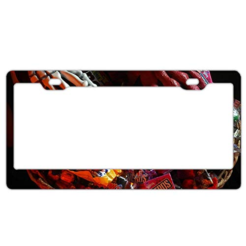 (KSLIDS Holiday Halloween Candy Hand Skeleton License Plate Frames Fine Slim Frame Standard Size for US)