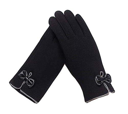 胚活性化トレーニングレディースエレガントな暖かい冬の手袋は、手袋の弓黒を運転