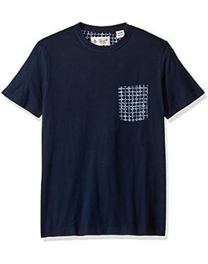 Men's Short Sleeve Linen Printed Pocket Tee