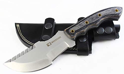 Moorhaus Handmade D2 Tool Steel Tracker Knife with Leather Sheath (Black & Blue Wood)