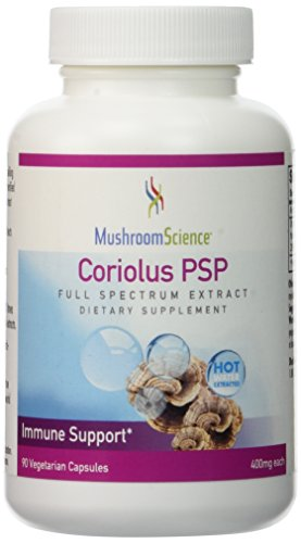 400 Mg Supplements Herbs - Mushroom Science Coriolus PSP Extract: Organic Coriolus Versicolor Medicinal Mushroom Dietary Supplement - Natural Immune Booster - 400 mg Herbal Supplements for Men and Women - 90 Vegetarian Capsules