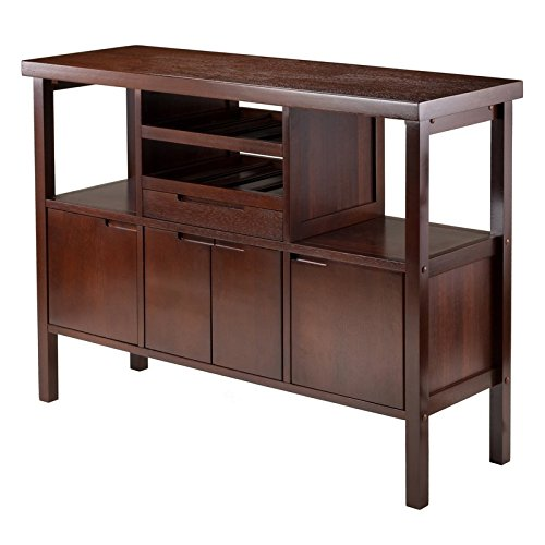 Comfort Sideboard with Solid Composite Wood in Walnut Finish and Two Wine Rack, Perfect for Holding Up To Eight Bottles, Traditional Arrangement, Clean Lines and Rich Walnut Finish - 46' Round Dining Table