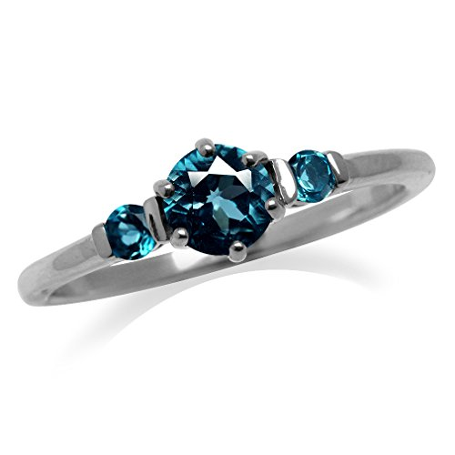 - Petite 3-Stone Genuine London Blue Topaz White Gold Plated 925 Sterling Silver Ring Size 9