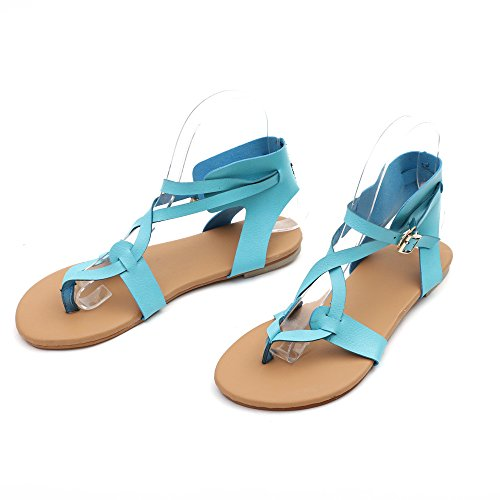 - Sandals for Womens, FORUU Summer Breathable Lace-up Beach Rome Casual Flat Shoes (6.5, Blue)