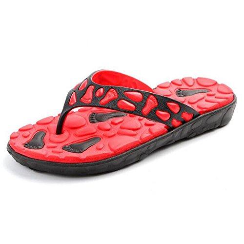 Flip Flops Menn Utendørs Lette Tøfler Komfort Massasje Strand Thongs Sandaler Røde