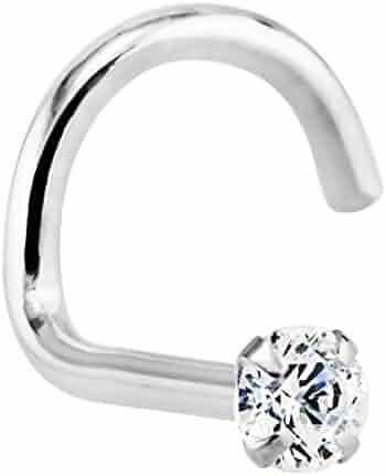1.5mm 0.015 ct. tw Diamond 14K White Gold Nose Ring Twist Screw 20G