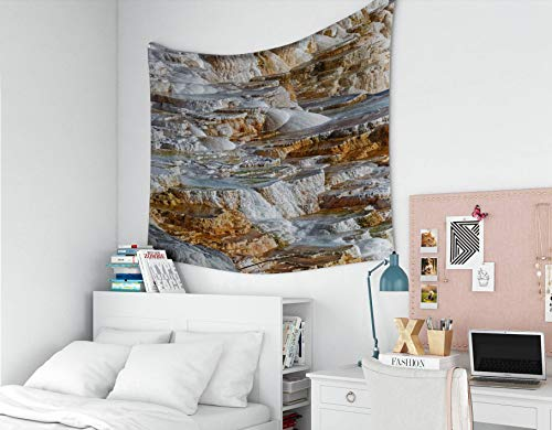 Musesh Wall Tapestry, Polyster Tapestry Wall Hanging for Bedroom Living Room Decor Hot Springs is a Large Complex of hot Springs on Hill Travertine in Yellowstone National 60x50 Inches Size ()
