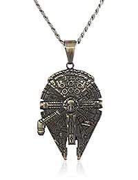 Star Wars Jewelry - Collar con colgante de halcón milenario, de acero inoxidable, unisex