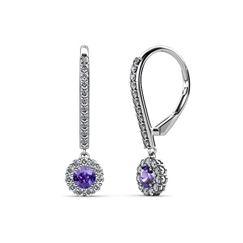 TriJewels Iolite and Diamond Halo Dangling Earrings 0.51 ctw in 14K White Gold