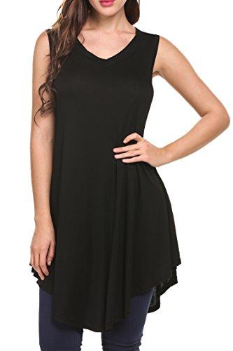 HOTOUCH - Camiseta sin mangas - Túnica - Sin mangas - para mujer negro
