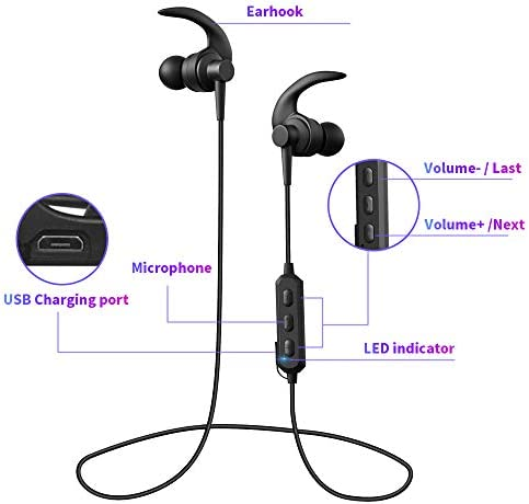 Wireless Bluetooth Headphones, Wireless Earphones, Noise Cancelling in-Ear IPX6 Sweatproof Earbuds with Mic for Workout and Sports Running Black