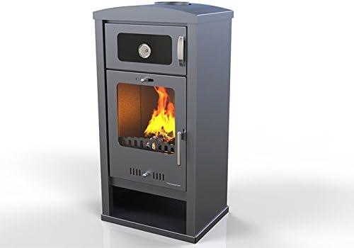 Estufa de Leña con horno TROY kW 7,5, bio clase eficiencia energética A+ eco calefacción y bioclimatismo sostenible, color gris oscuro