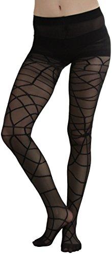 ToBeInStyle Women's Woven Spider Web Sheer Spandex Pantyhose - BLACK