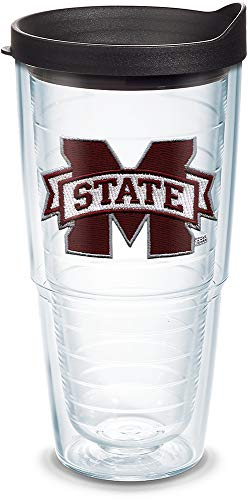 Tervis 1058457 Mississippi State Bulldogs Logo Tumbler with Emblem and Black Lid 24oz, Clear - Mississippi State Bulldogs Kitchen