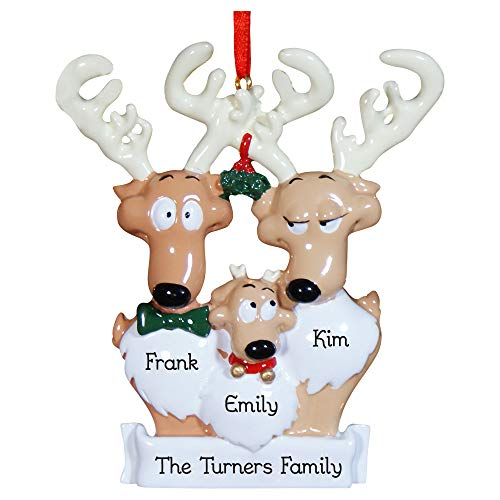 GiftsForYouNow Reindeer Family of 3 Personalized Christmas Ornament, Hand Painted Resin, Engraved